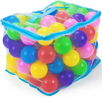 Imagination Generation 200-pack Jumbo 3-inch Multi-Colored Soft Ball Pit Balls with Mesh Carrying Case