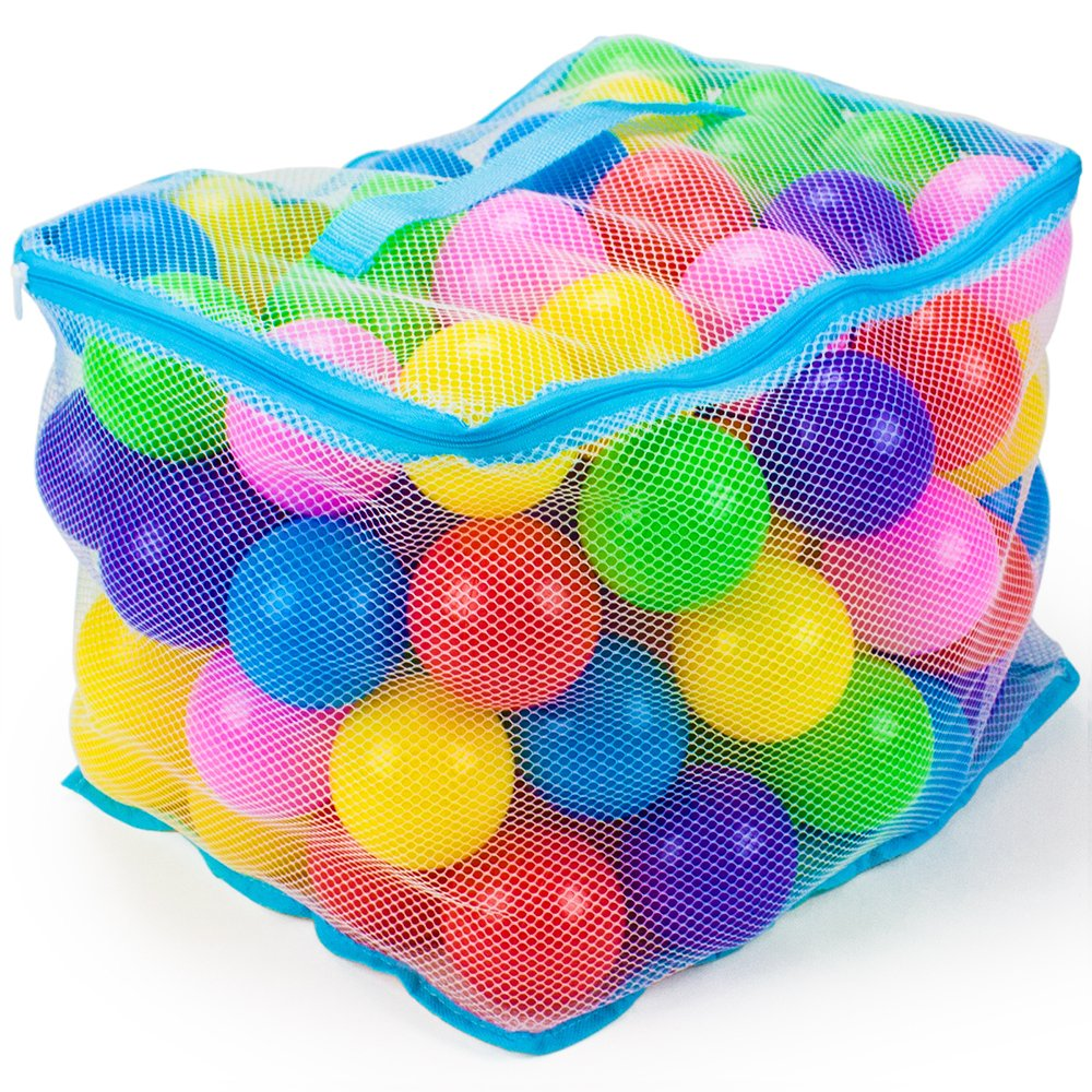 100 Jumbo 3 in Multi-Colored Soft Ball Pit Balls with Mesh Carrying Case by Imagination Generation