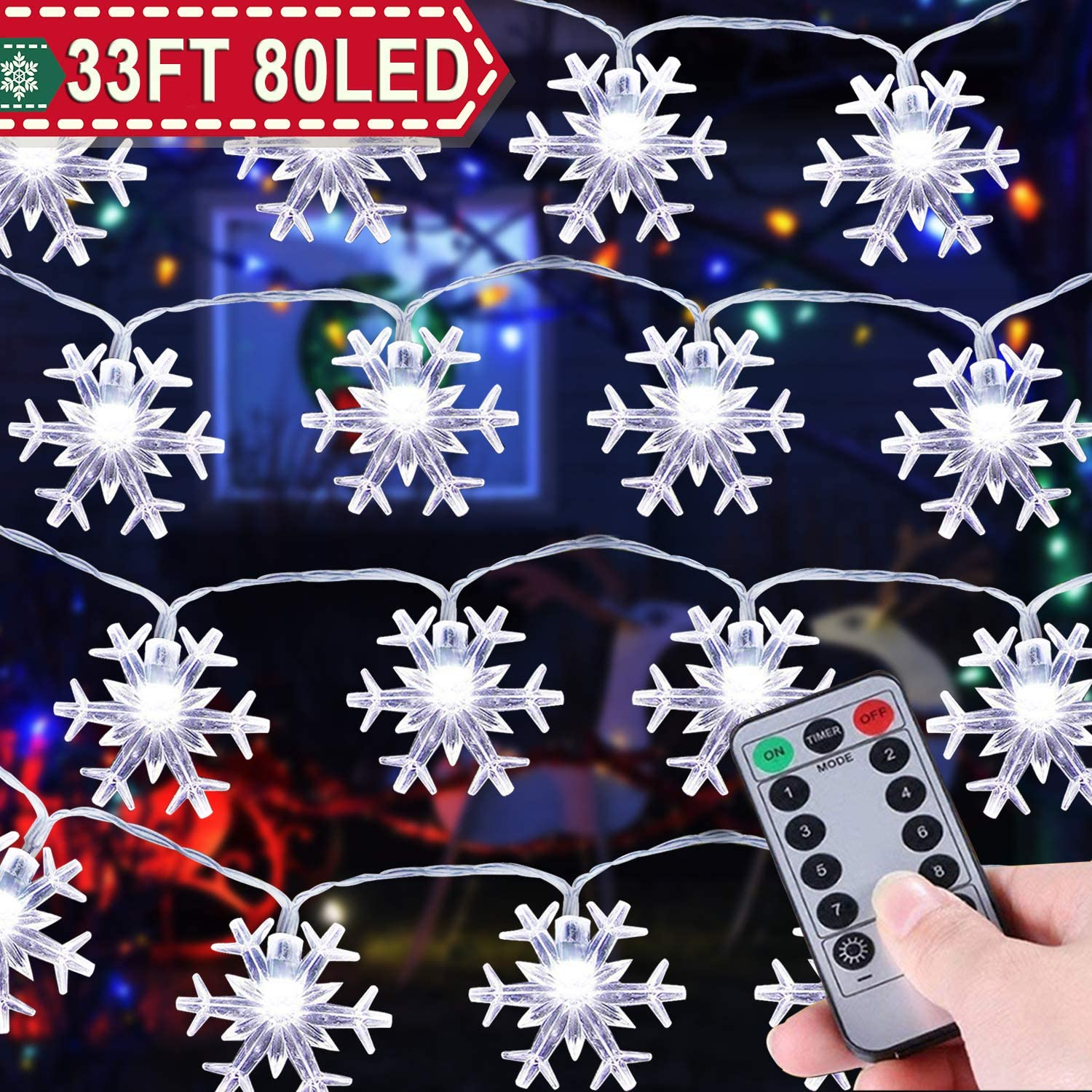 33 ft 80 LEDs Snowflake String Lights Battery Operated Outdoor Indoor Christmas Fairy Lights for Holiday Party Decor Patio Garden Bedroom with Remote Control Timer 8 Flash Mode LED Snowflake Lights
