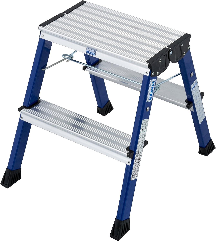 Krause 130082 Rolly - Escalera plegable (2 x 2 peldaños), color azul: Amazon.es: Bricolaje y herramientas