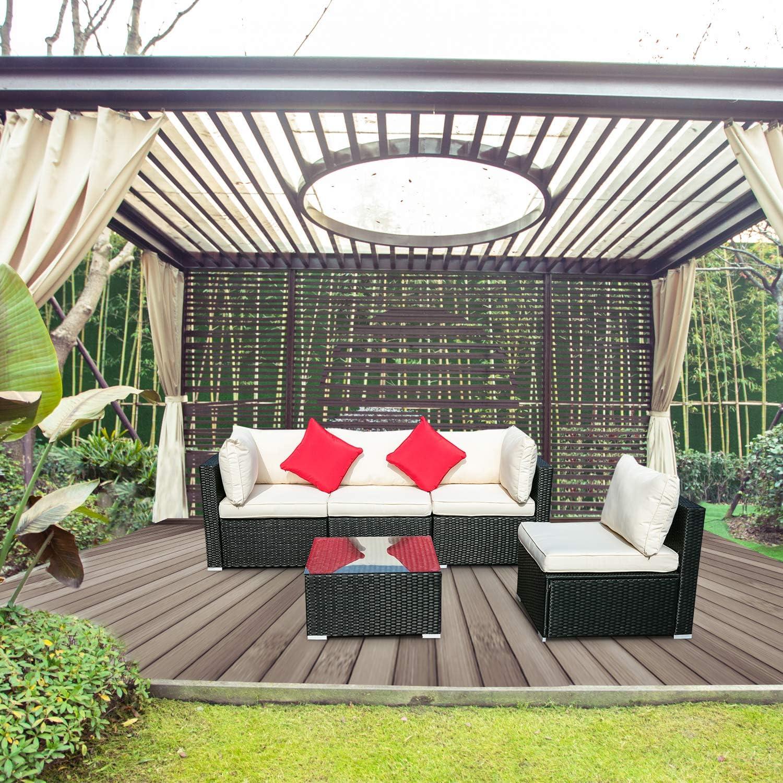 Amazon Com Wonlink 5 Pcs Outside Patio Furniture Sectional Pe Rattan Wicker Conversation Sofa Sectional White Garden Outdoor