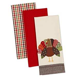 "DII Cotton Thanksgiving Holiday Dish Towels, 18x28"" Set of 3, Decorative Oversized Embroidered Kitchen Towels, Perfect Home and Kitchen Gift-Turkey"