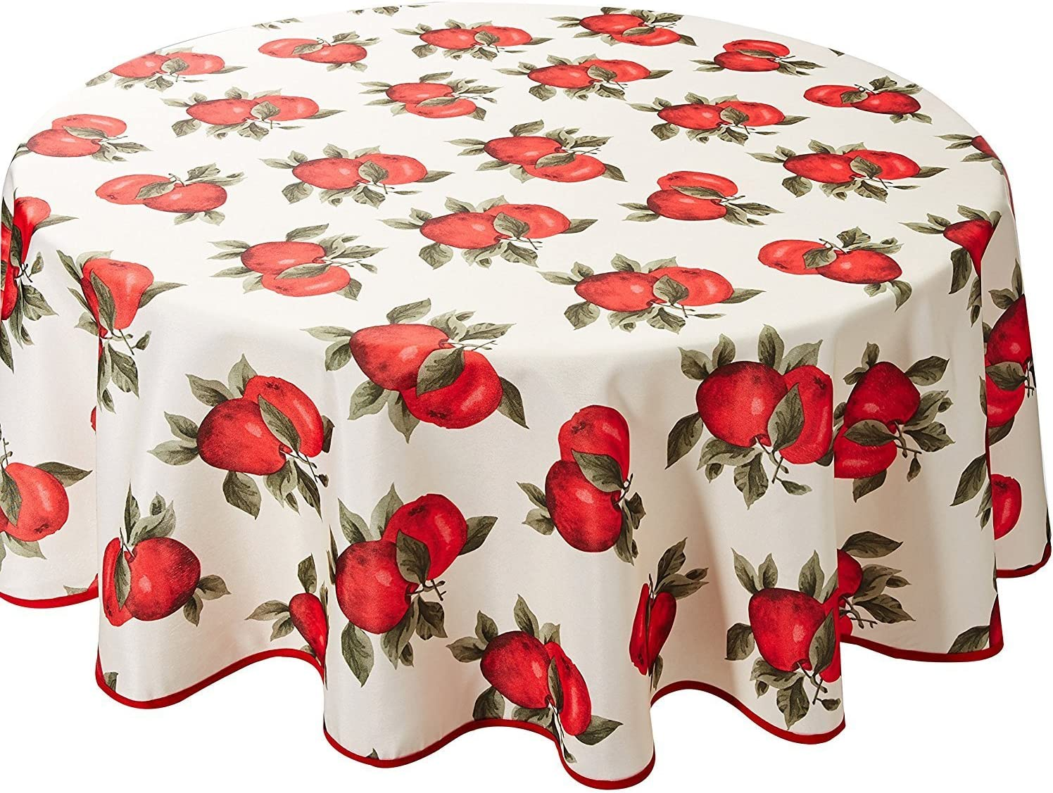 "Violet Linen Classic European Apples Tablecloth, 60"" Round"