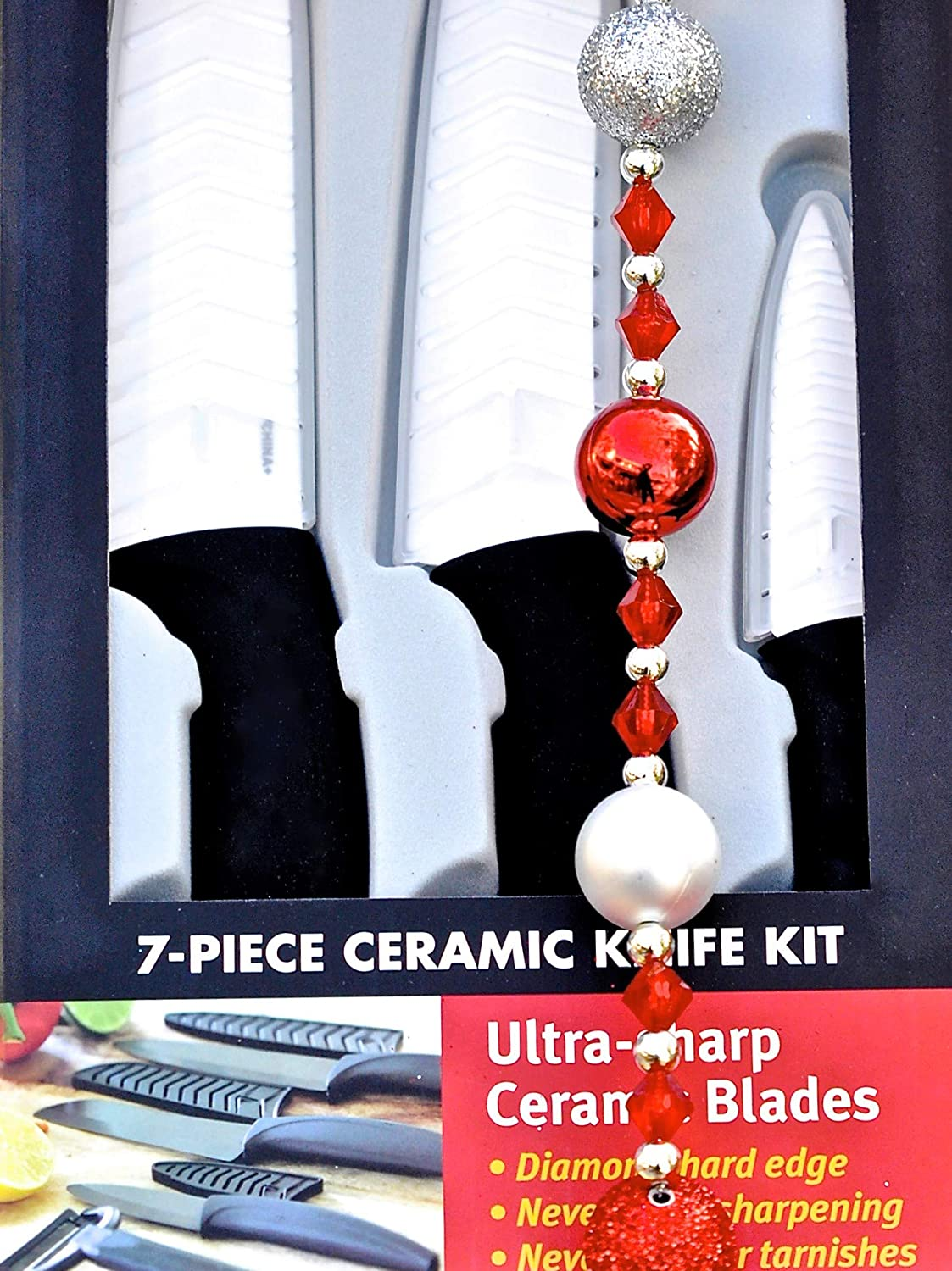 Miracle Blade World Class Series White Ceramic 7-piece Knife Set with Protective Blade Covers