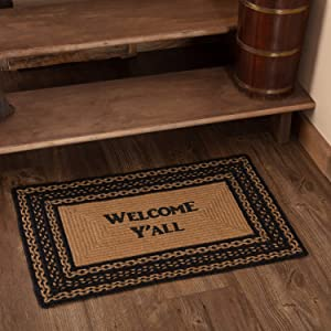 VHC Brands 9811 Classic Country Primitive Flooring-Farmhouse Jute Black Stenciled Welcome Y'all Rug, 20 x 30