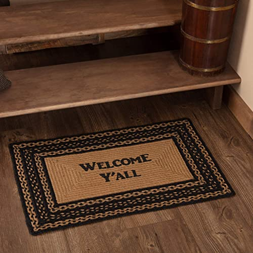 VHC Brands 9811 Classic Country Primitive Flooring-Farmhouse Jute Black Stenciled Welcome Y all Rug, 20 x 30