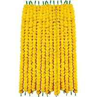 Phool Mala Plastic Artificial Flowers Marigold Garlands for Decoration (Yellow) - Pack of 5