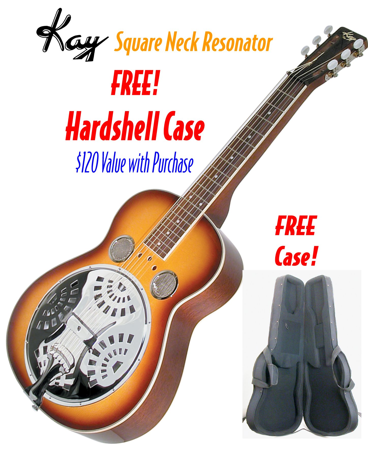 Kay KDS336-C Square Neck Resonator Guitar with FREE Case by Kay