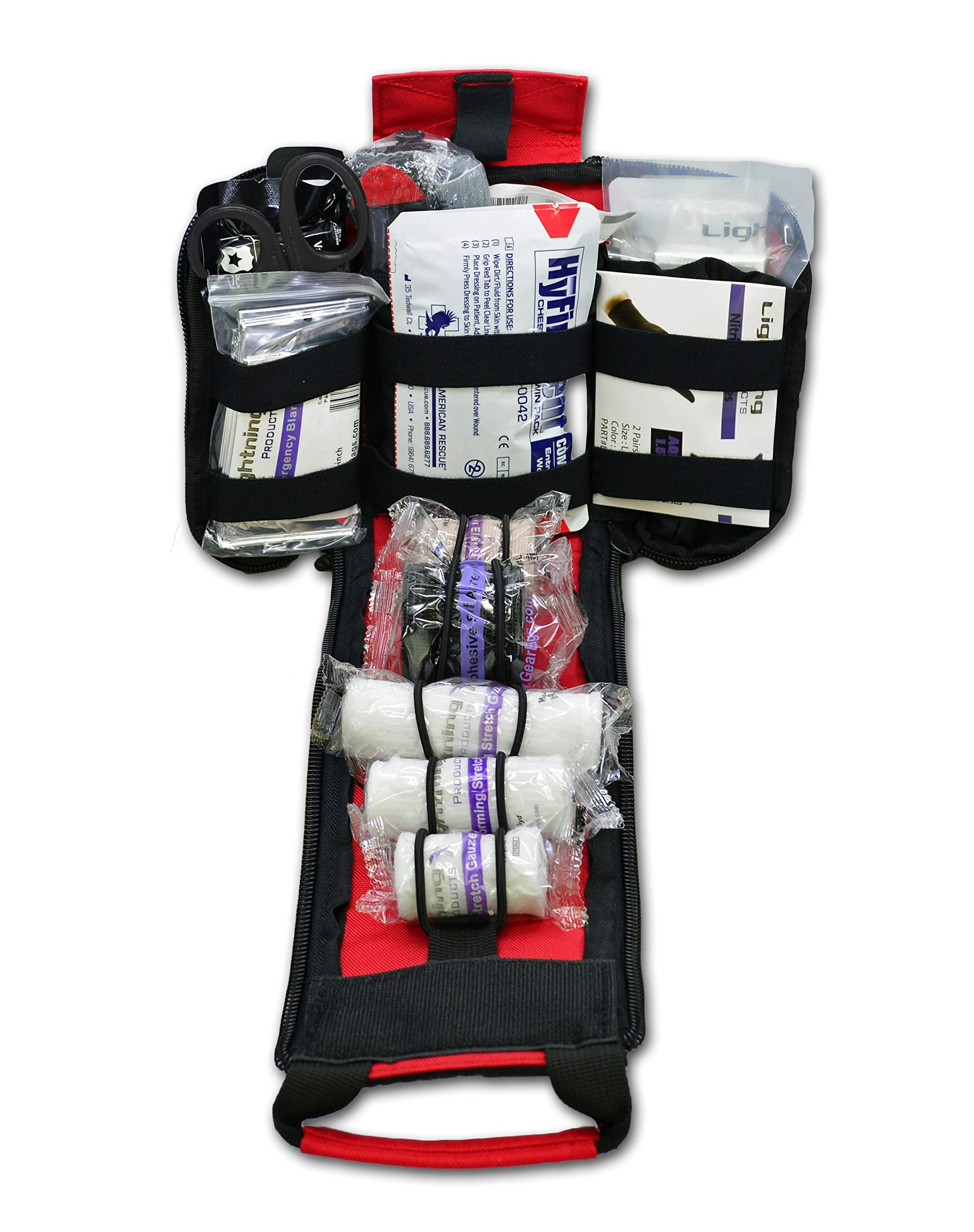 Lightning X Spread Eagle Complete Tactical Gunshot & Trauma IFAK Kit w/Laser Cut MOLLE (Red)