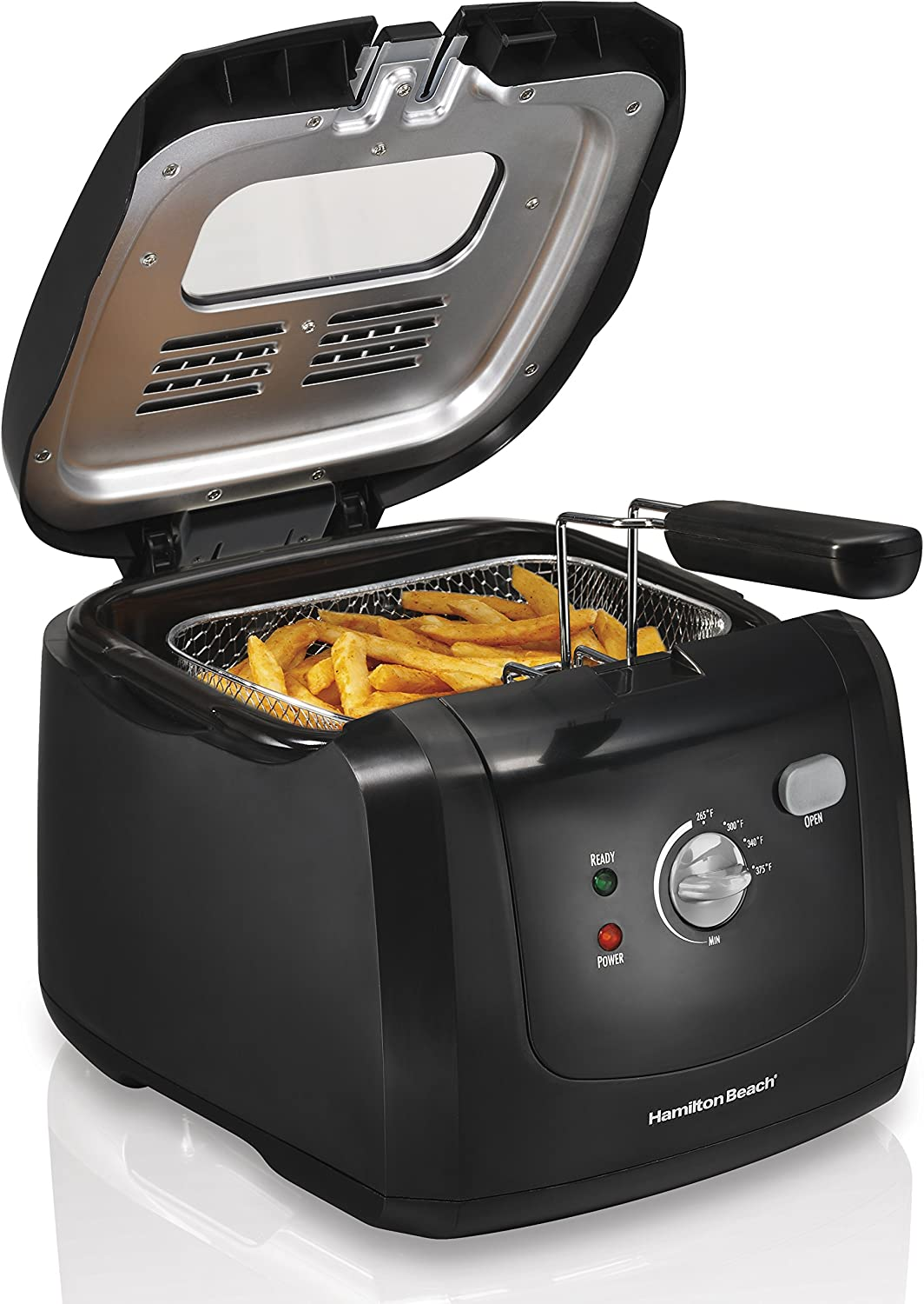 Hamilton Beach Cool-Touch Deep Fryer, 8 Cups 2 Liters Oil Capacity, Lid with View Window, Basket with Hooks, 1500 Watts, Electric, Black 35021