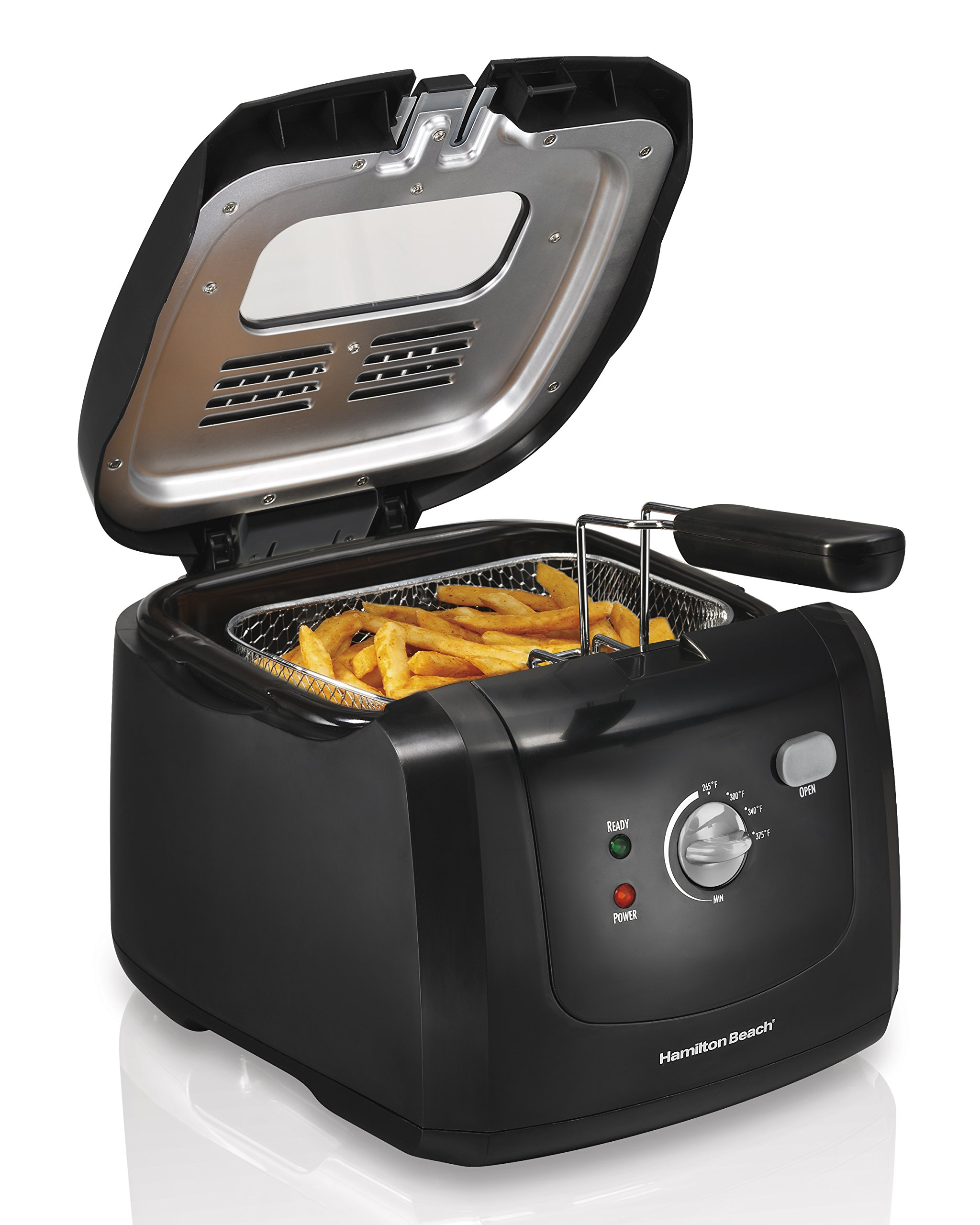 Hamilton Beach Cool-Touch Deep Fryer, 8 Cups / 2 Liters Oil Capacity, Lid with View Window, Basket with Hooks, 1500 Watts, Electric, Black (35021) by Hamilton Beach