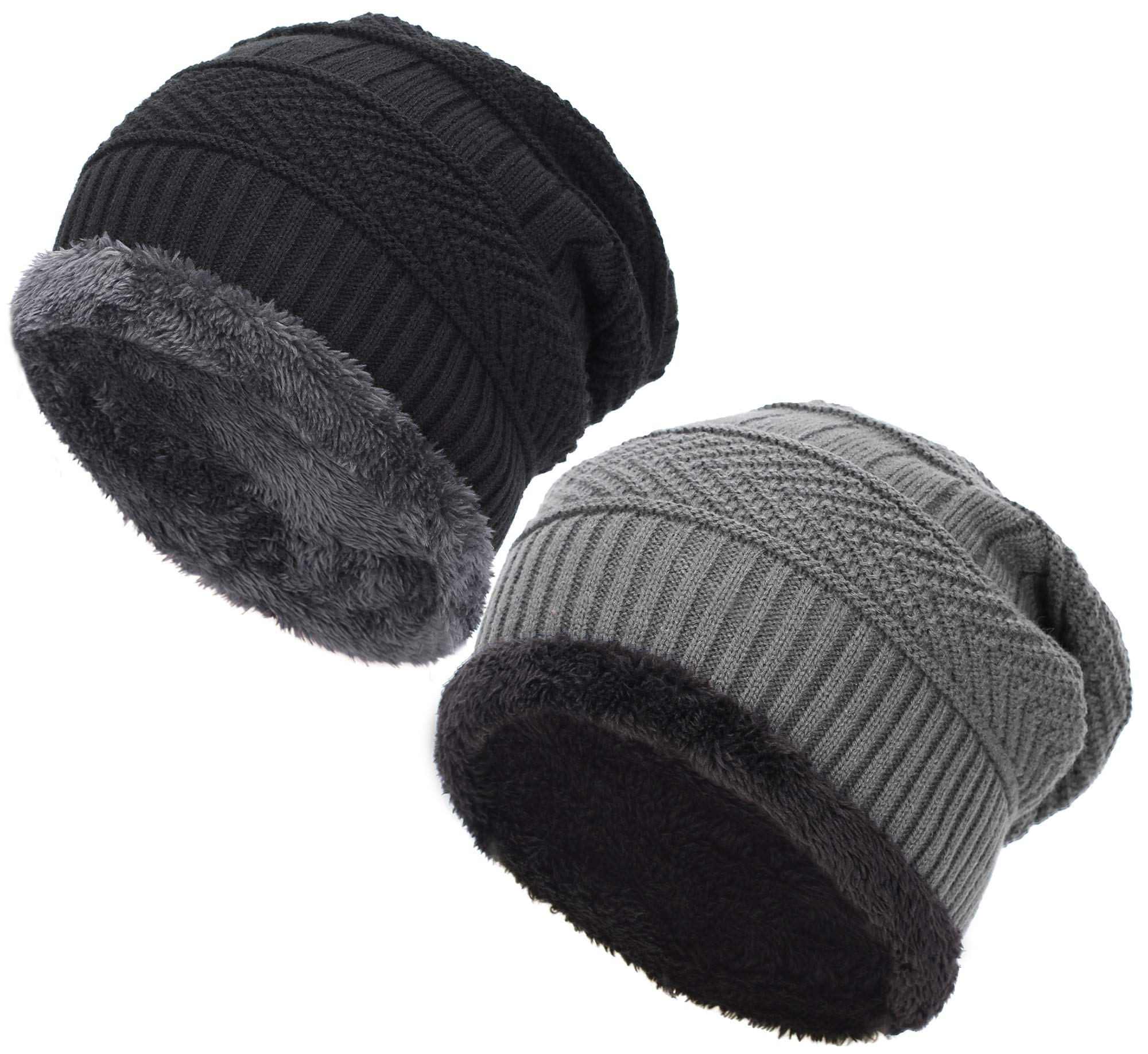 EASTER BARTHE Classic Men's Thick Warm Winter Fleece Lining Knit Beanie Hat Baggy Oversize Slouchy Stocking Beanie Hat Skull Cap for Men (2 Pack:1-Black & 1-Grey (Without Label))