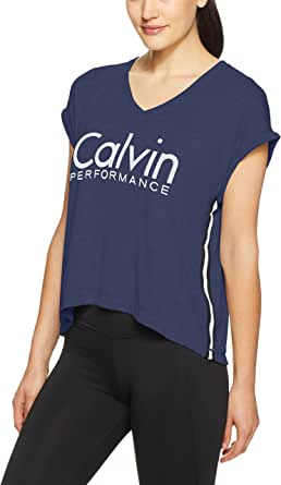 Calvin Klein Women's Logo V-Neck Performance Tee Shirt