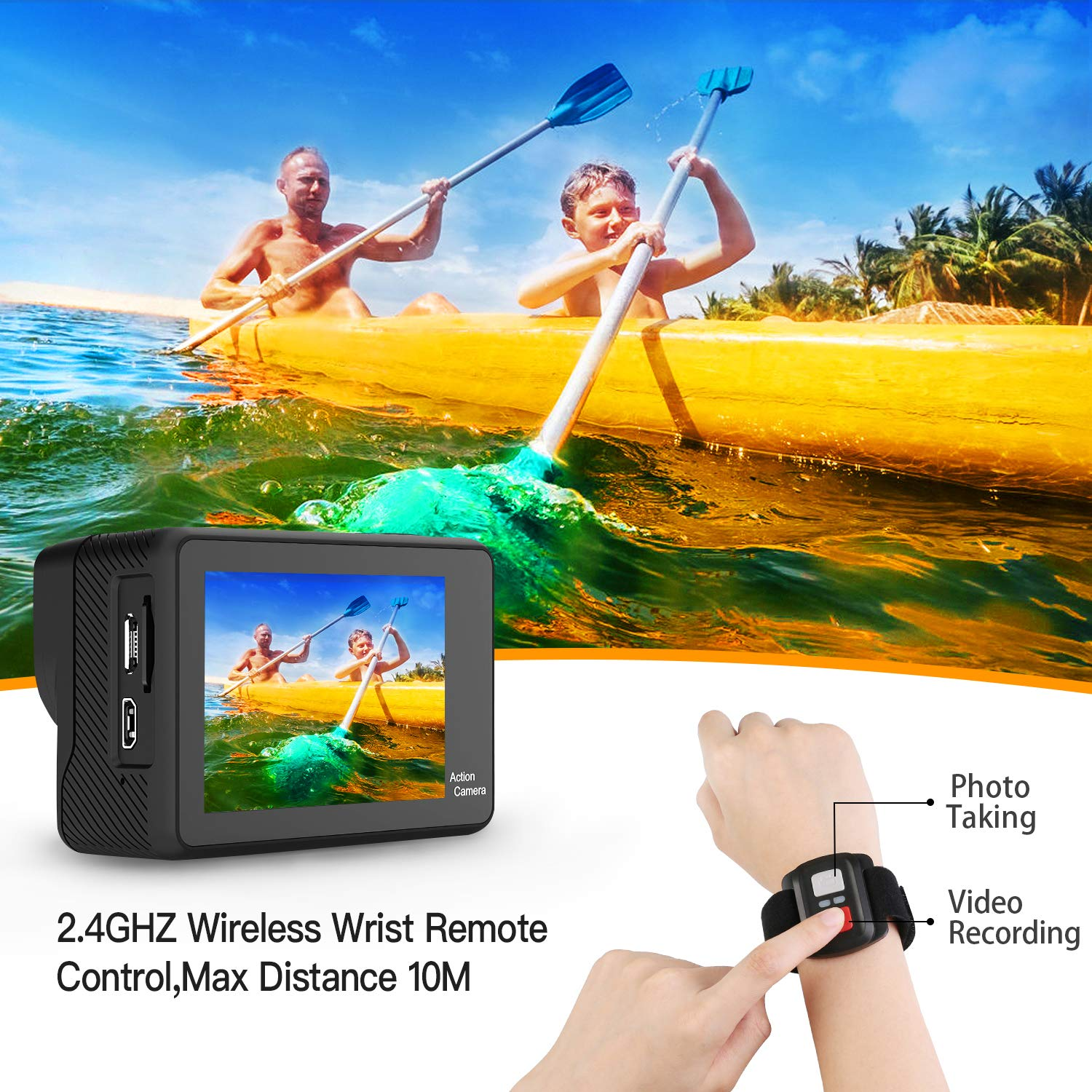 WiMiUS 4K Action Camera 2 Inch Touch Screen 16MP WiFi Sports Camera 30M Underwater Waterproof Camcorder 170 Degree Wide Angle Lens with 2 Rechargeable 1050mAh Batteries and Mounting Accessories by WiMiUS (Image #5)