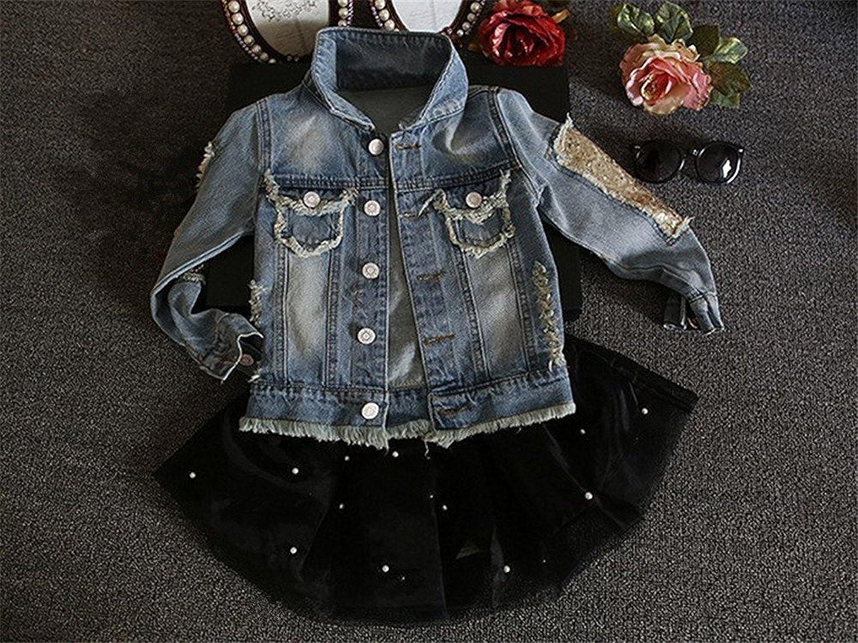 HOODIE FREE Little Girls Denim Jacket Girls Fashion Jacket