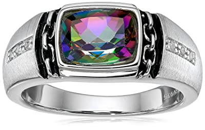 Men's Sterling Silver, Mystic Fire Topaz and Diamond Ring