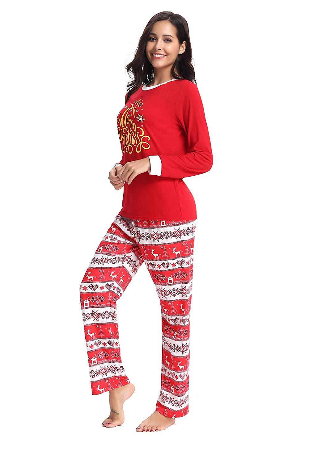 AMONIDA 2018 Christmas Pajama Set for Women Cotton Sleepwear Long Sleeve Pj  Set at Amazon Women s Clothing store  0a11381fd