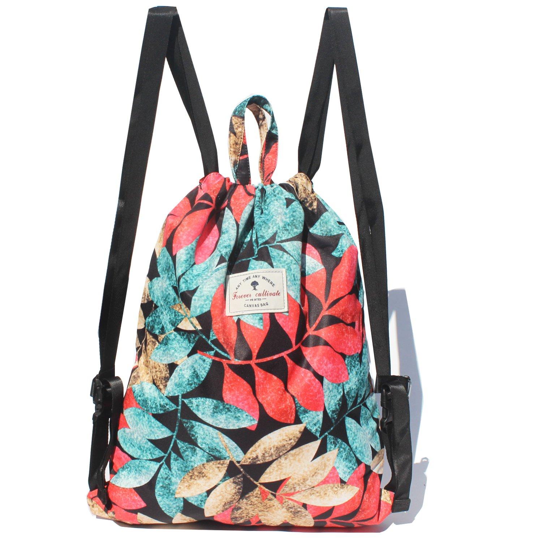 Forever Cultivate Drawstring Bag Original Tote Bags for Travel Gym Hiking School Beach (Upgrade) (B)