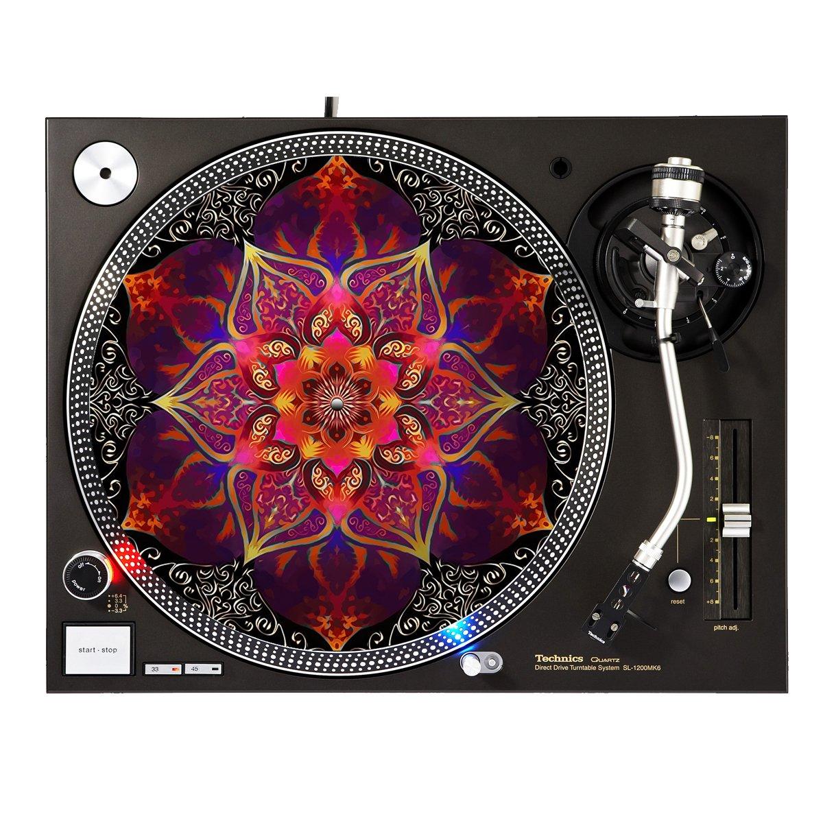 Red Flower - DJ Turntable Slipmat Sunshine Design Cases Slipmat-286