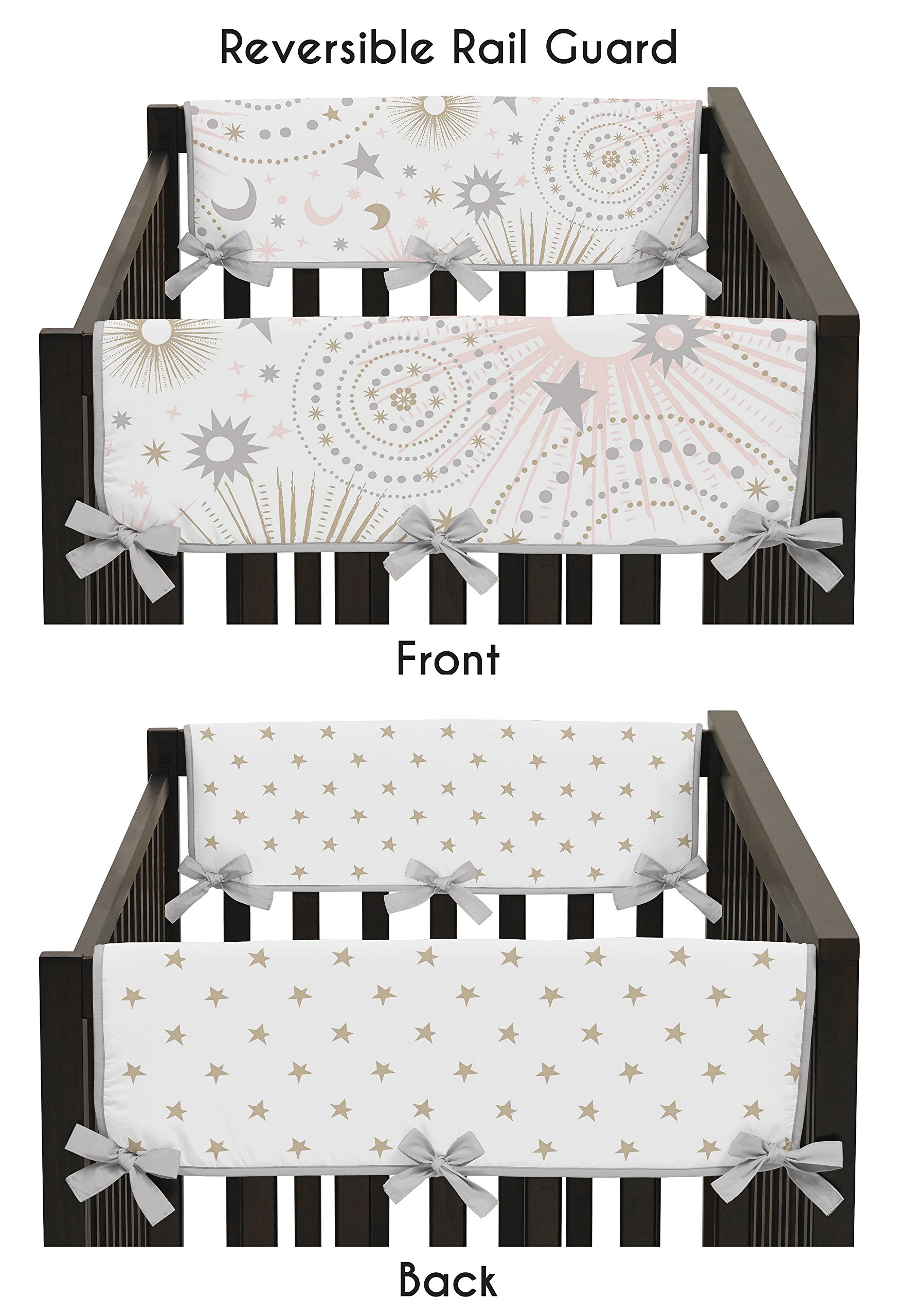 Sweet Jojo Designs 2-Piece Blush Pink, Gold, Grey and White Star and Moon Side Crib Rail Guards Baby Teething Cover Protector Wrap for Celestial Collection by