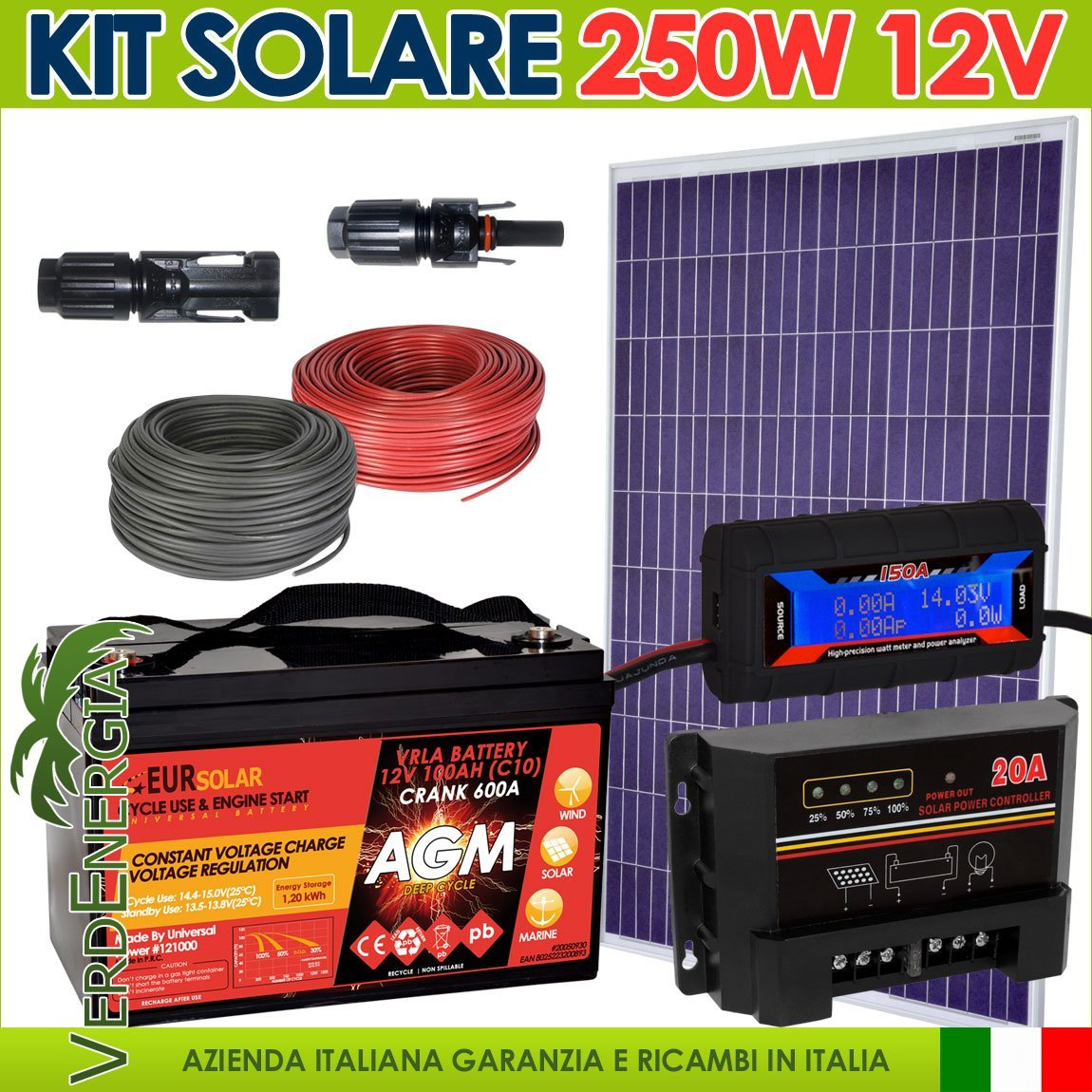 Kit solar 250 W Photovoltaik 12 V Poly Regler PWM 12 V 20 A Stecker MC4 Kabel Batterie Messgerät