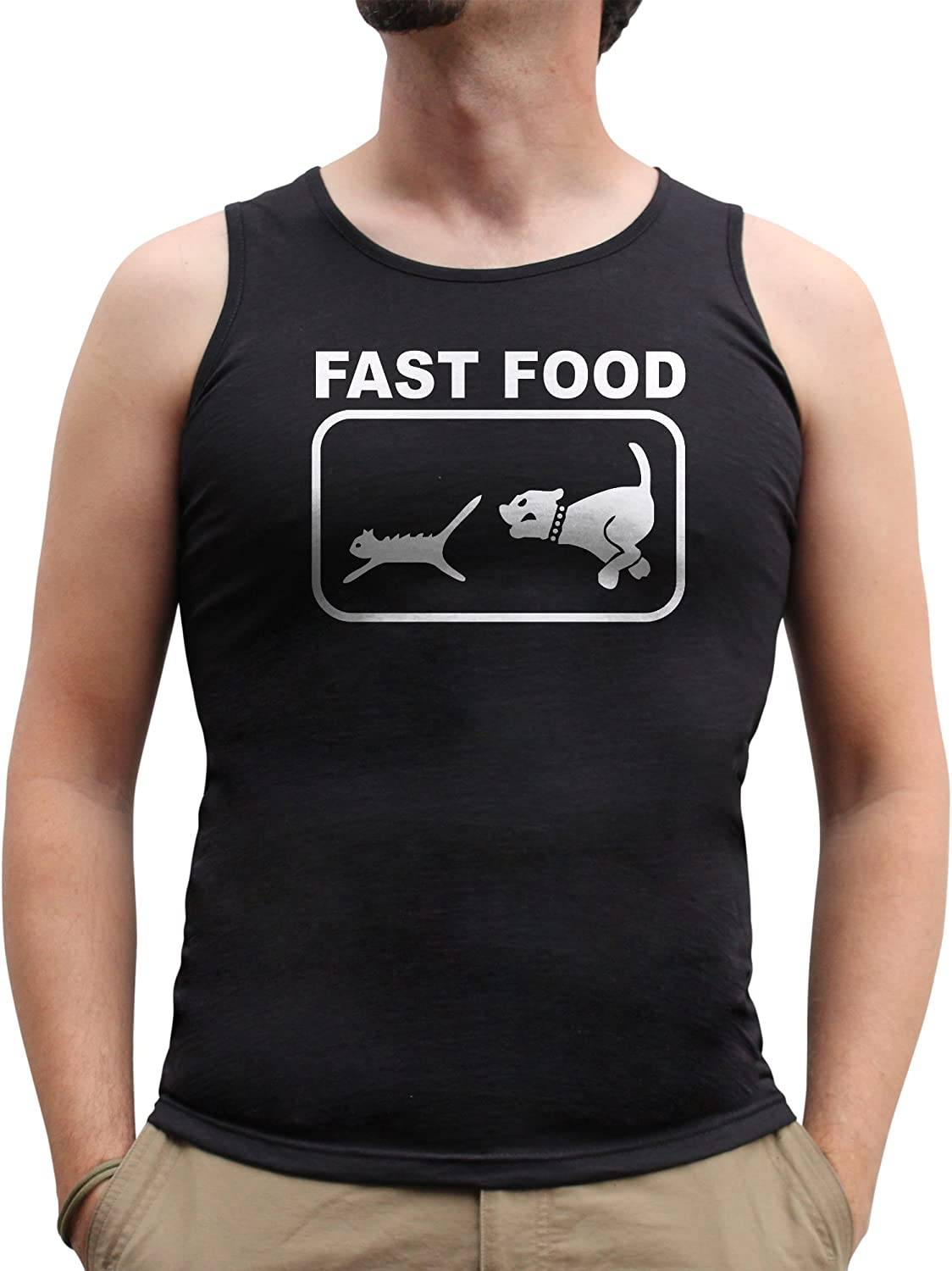 Nutees Mens Fast Food Dog Chasing Cat Funny Tank Top Vest