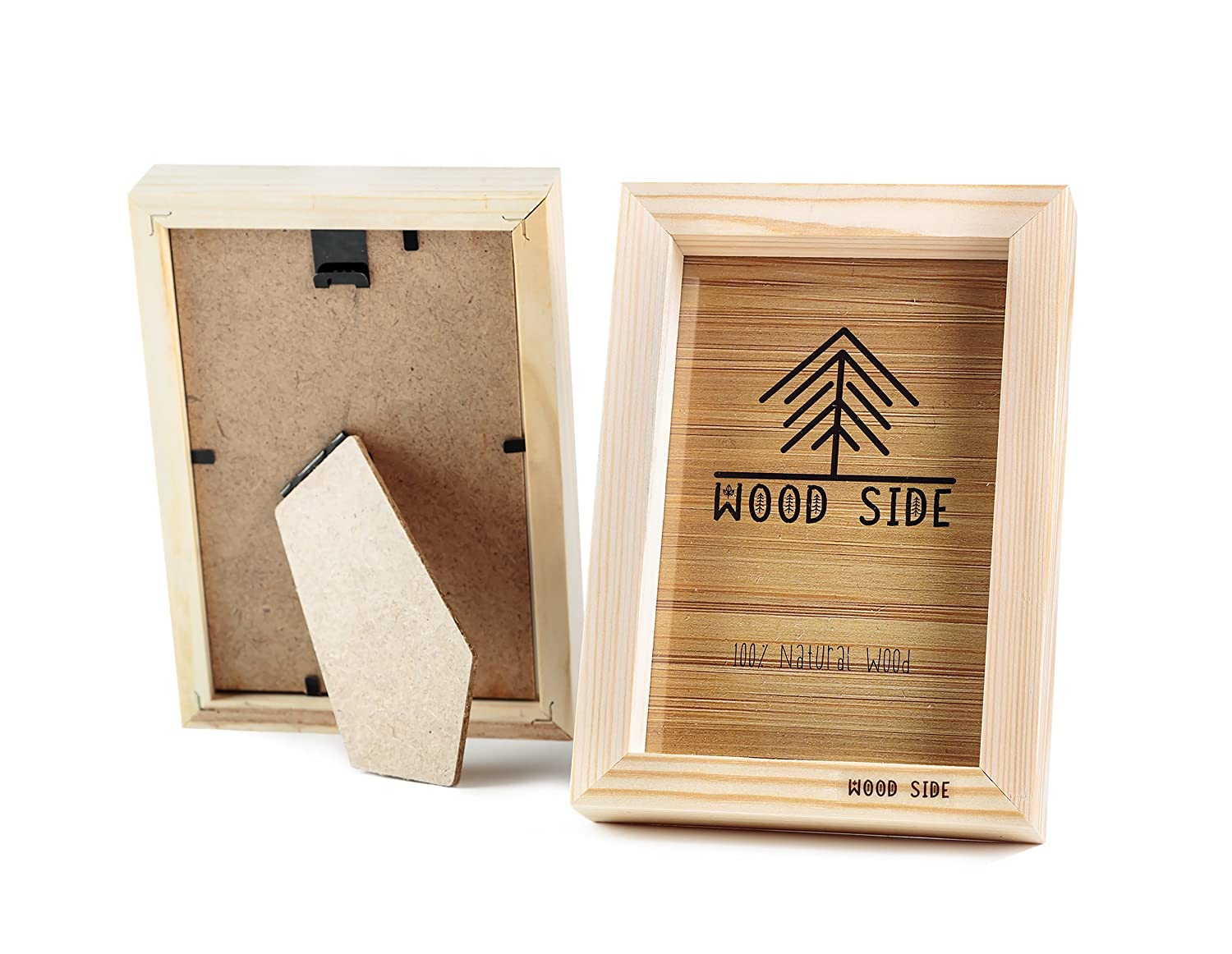 Wooden Picture frames 4x6 Inch - with Real Glass - Set of 2-Eco Unfinished Wood - Thick Borders - Natural Wood Color for Table Top Display and Wall Mounting Photo Frame