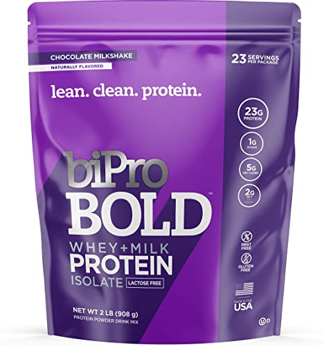 BiPro BOLD Whey Milk Protein Powder Isolate, Chocolate Milkshake 2 Pounds – No Added Sugar, Lactose Free, Gluten Free, Naturally Sweetened, Contains Prebiotic Fiber
