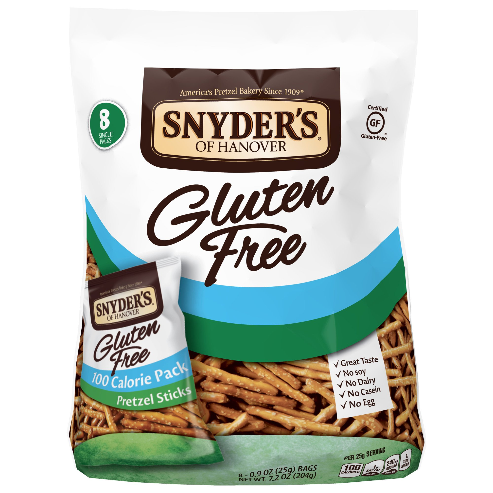Snyder's of Hanover Gluten Free Pretzel Sticks, 100 Calorie Multipack, 8 Count by Snyder's of Hanover
