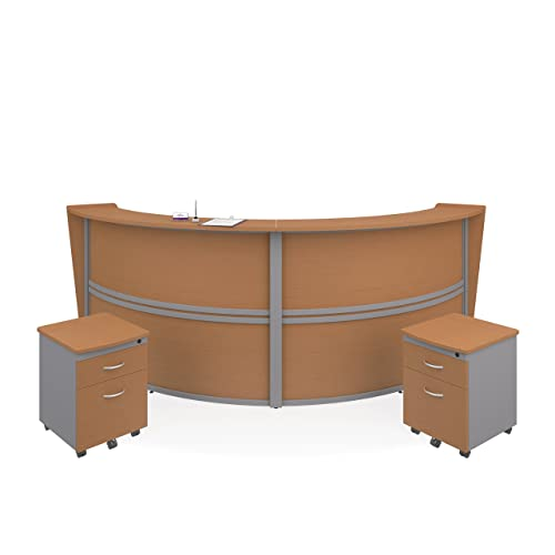 OFM Core Collection Marque Series Single Unit Curved Reception Station, in Walnut 55290-WALNUT