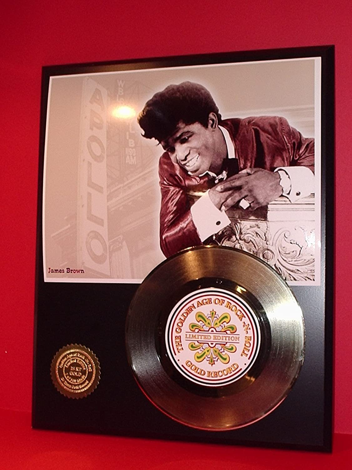 James Brown 24Kt Gold Record LTD Edition Display Gold Record Outlet