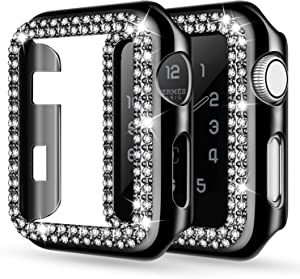 adepoy Apple Watch Case 44mm Series 6/5/4 SE Bling Rhinestone Apple Watch Protective Case Bumper Frame Screen Protector Case Cover for iWatch Series 44mm Black