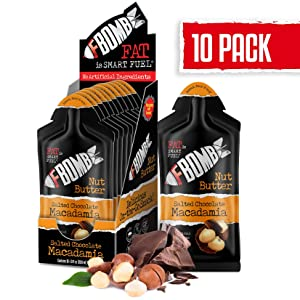 FBOMB Nut Butter 10 Pack: All-Natural Energy, Keto Fat Bombs | High Fat, Low Carb Snack, On-The-Go Energy | Paleo, Vegetarian, Keto Snacks | Salted Chocolate Macadamia - 1 oz Packets