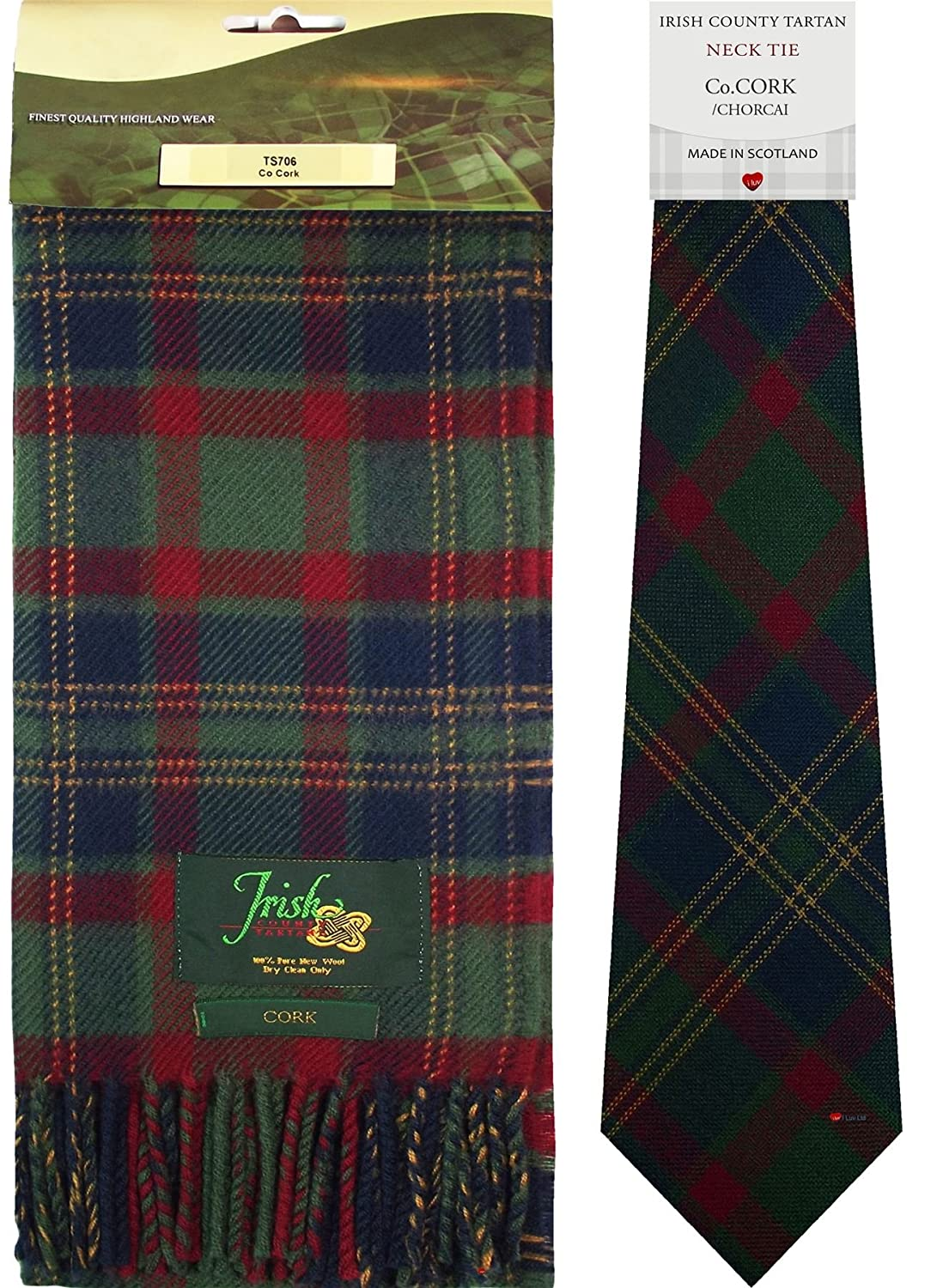 Co Cork Irish County Lambswool Scarf and Irish Tie Set I Luv Ltd