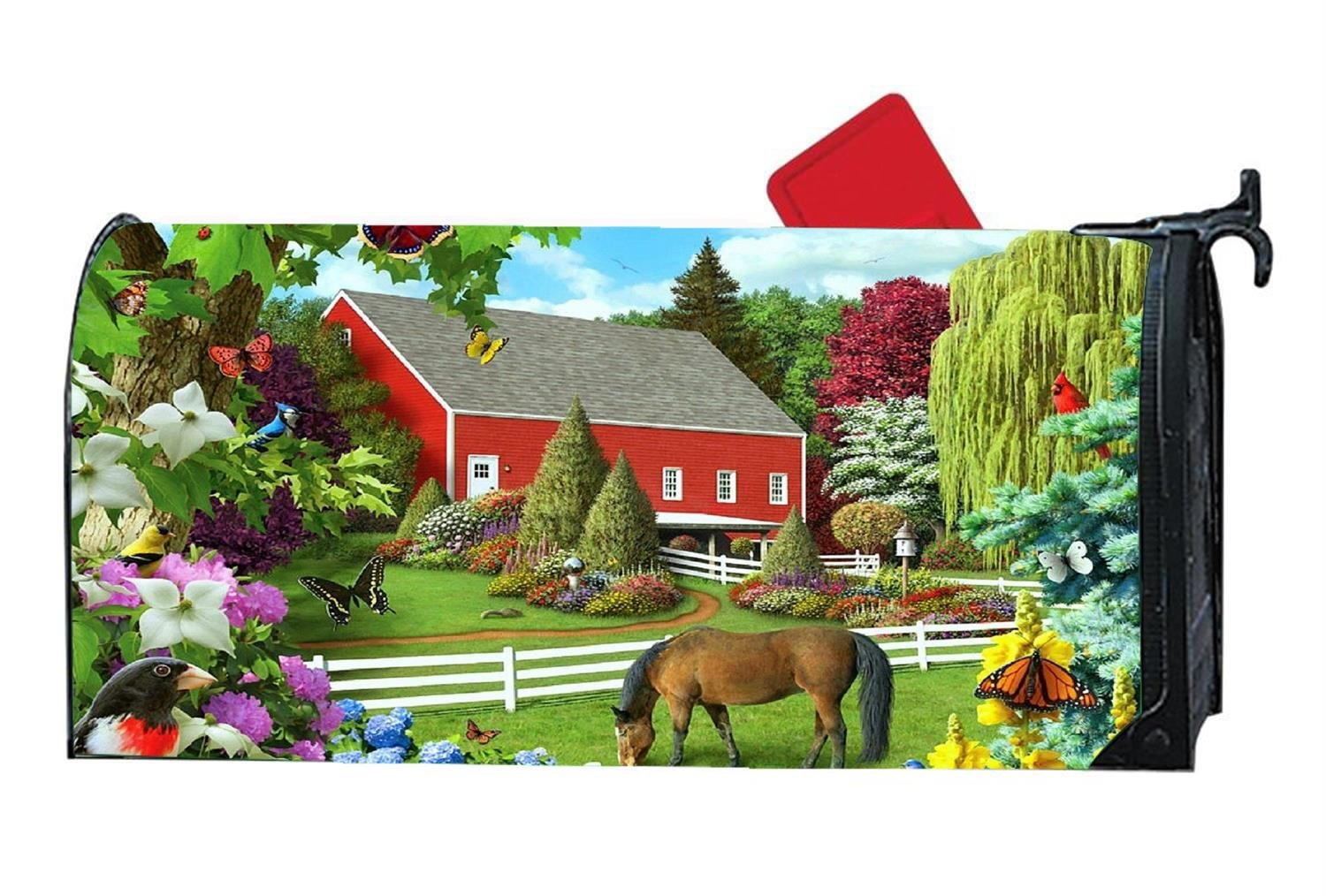 Customized Magnetic Mailbox Cover Home Garden MailBox Wraps Standard Vinyl - Flowers Outdoor Butterfly Horses Farm by Mailboxcoverfhiw