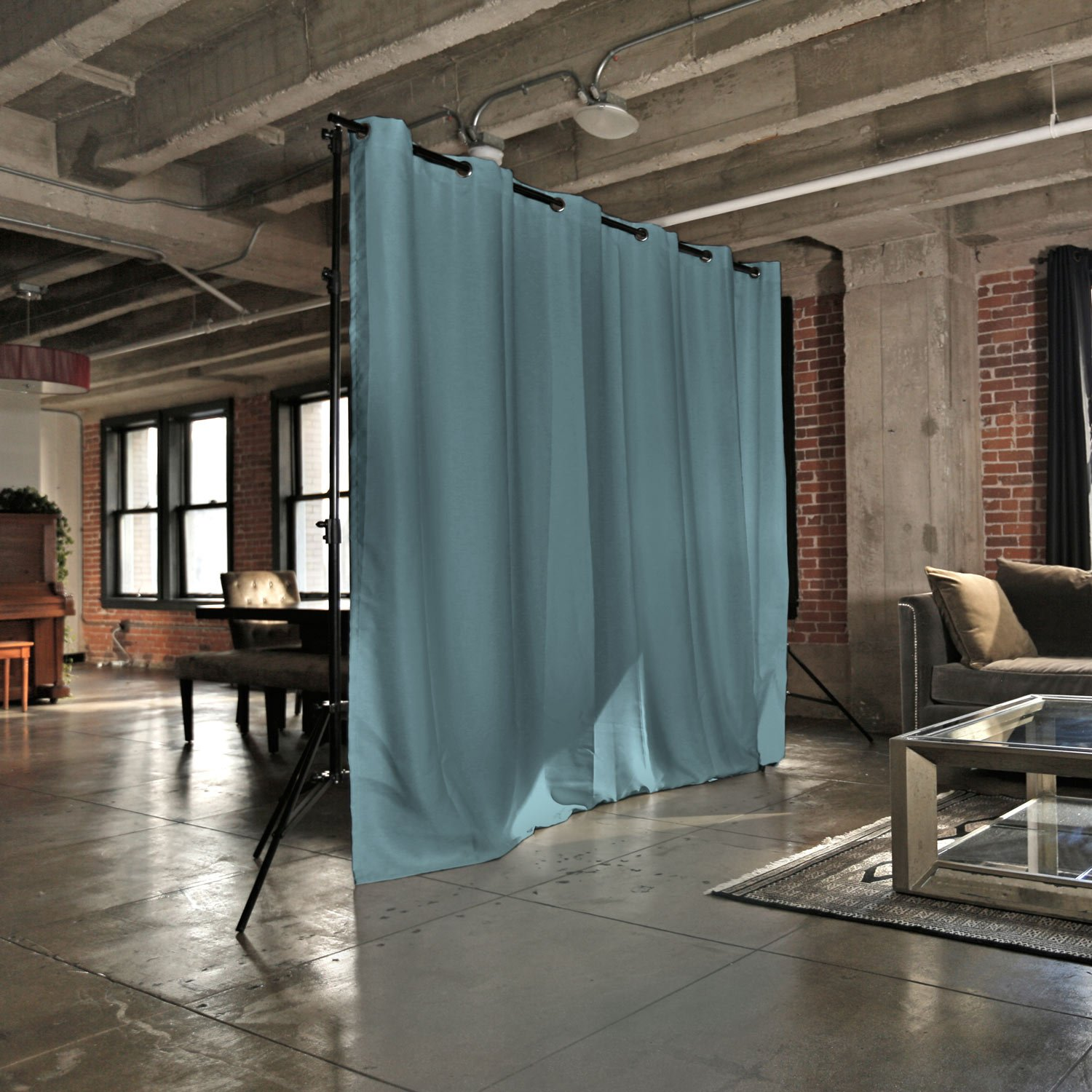 RoomDividersNow Premium Heavyweight Freestanding Room Divider Kit - Medium A, 8ft Tall x 12ft 6in - 25ft Wide (Seafoam)