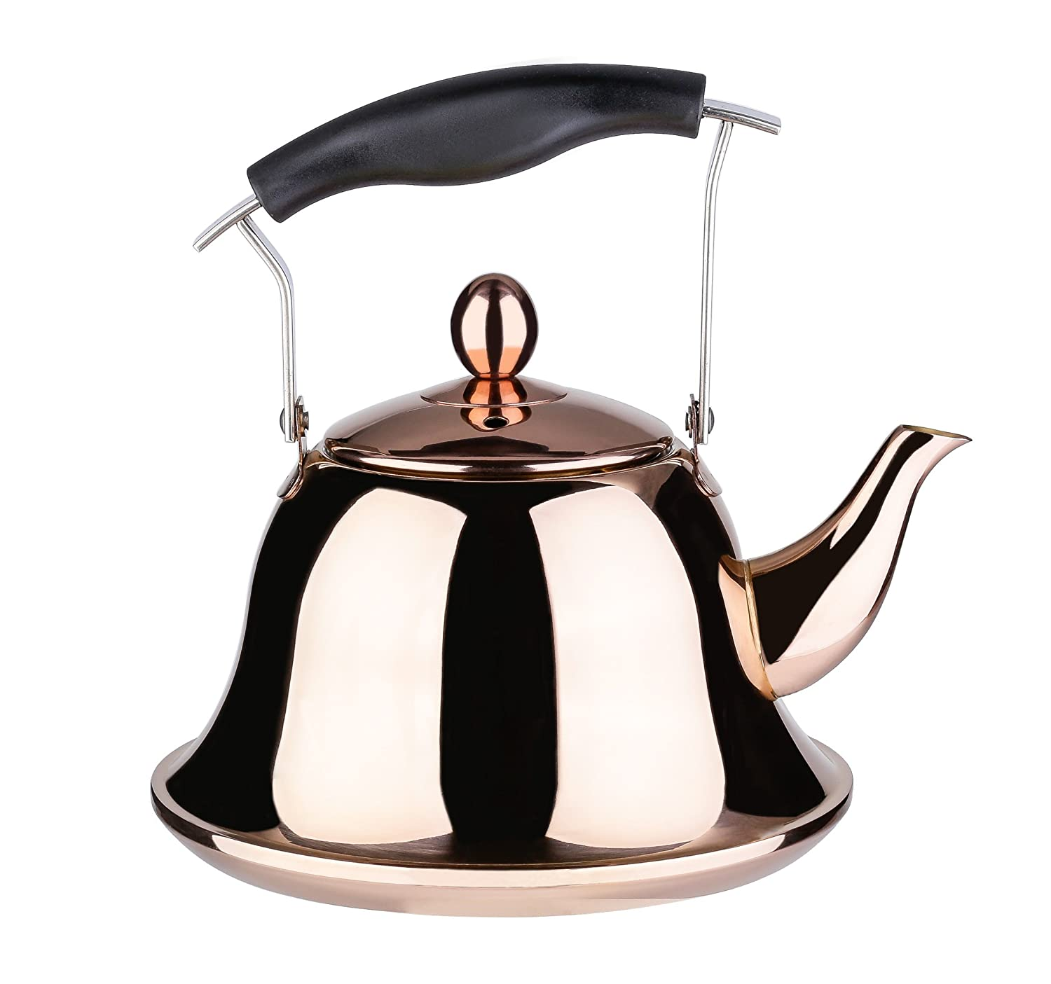 Onlycooker Whistling Tea Kettle 3 Liter Stainless Steel Stovetop Copper Teakettle Teapot for Induction/Gas Stove Top Modern Rose Gold Tea Pot/Maker Water Boiling 3.2 Quart / 100 Ounce