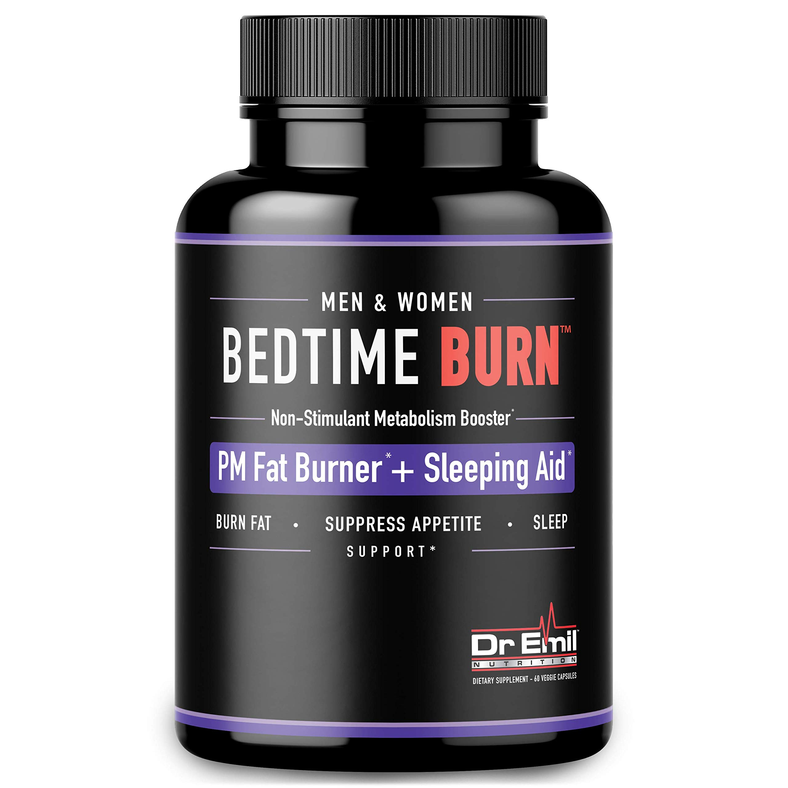Dr. Emil - PM Fat Burner, Sleep Aid and Night Time Appetite Suppressant - Stimulant-Free Weight Loss Pills and Metabolism Booster for Men and Women (60 Vegan Diet Pills) by DR EMIL NUTRITION