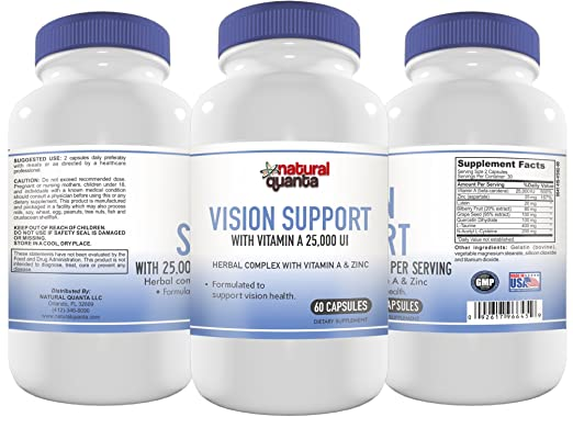 Amazon.com: Vision Support with 25,000 IU Vitamin A per Serving Herbal Complex with Vitamin A & Zinc 60 Capsules: Health & Personal Care