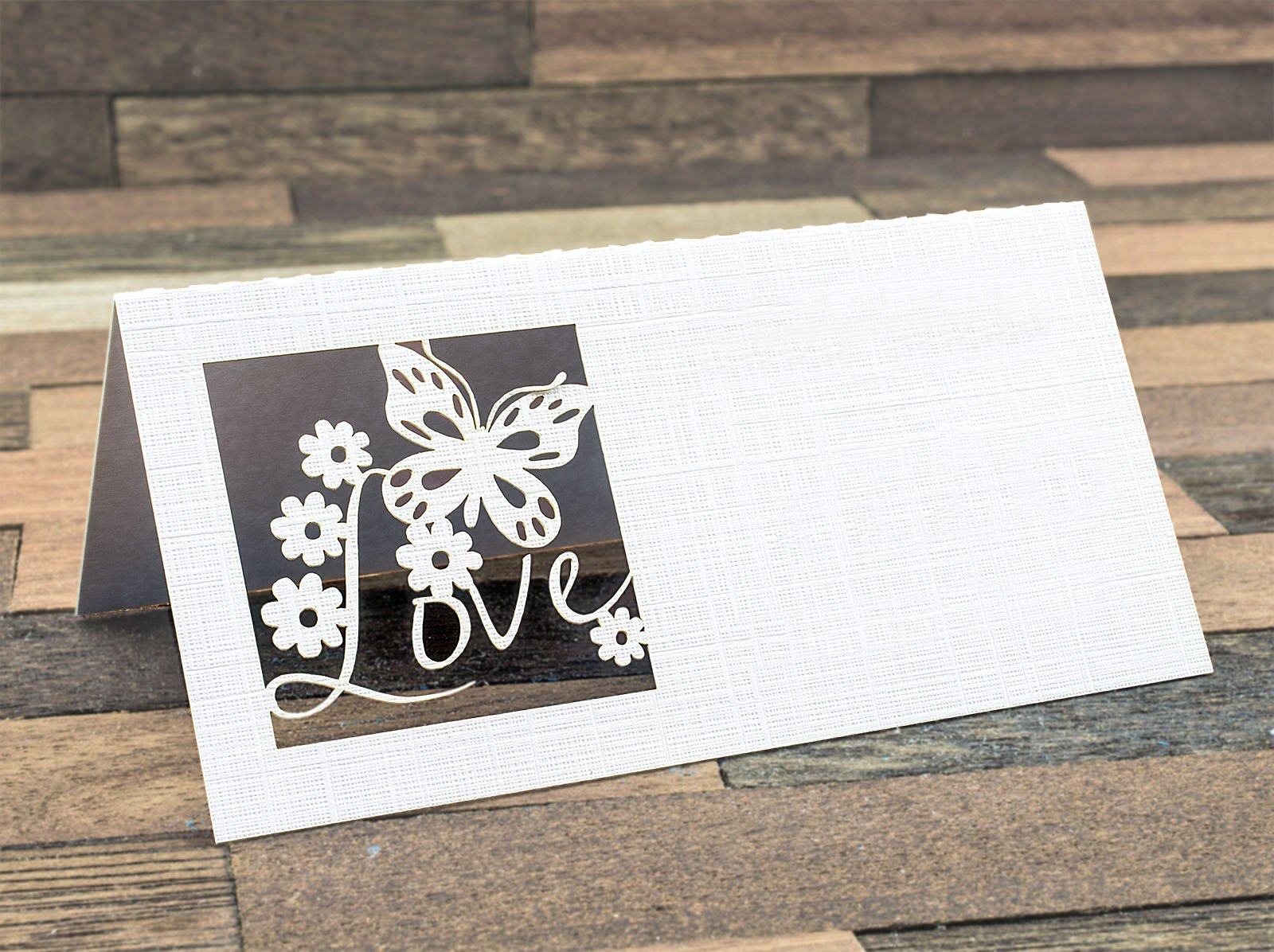 Summer-Ray 48pcs Laser Love is in the Air White Linen Wedding Place Cards