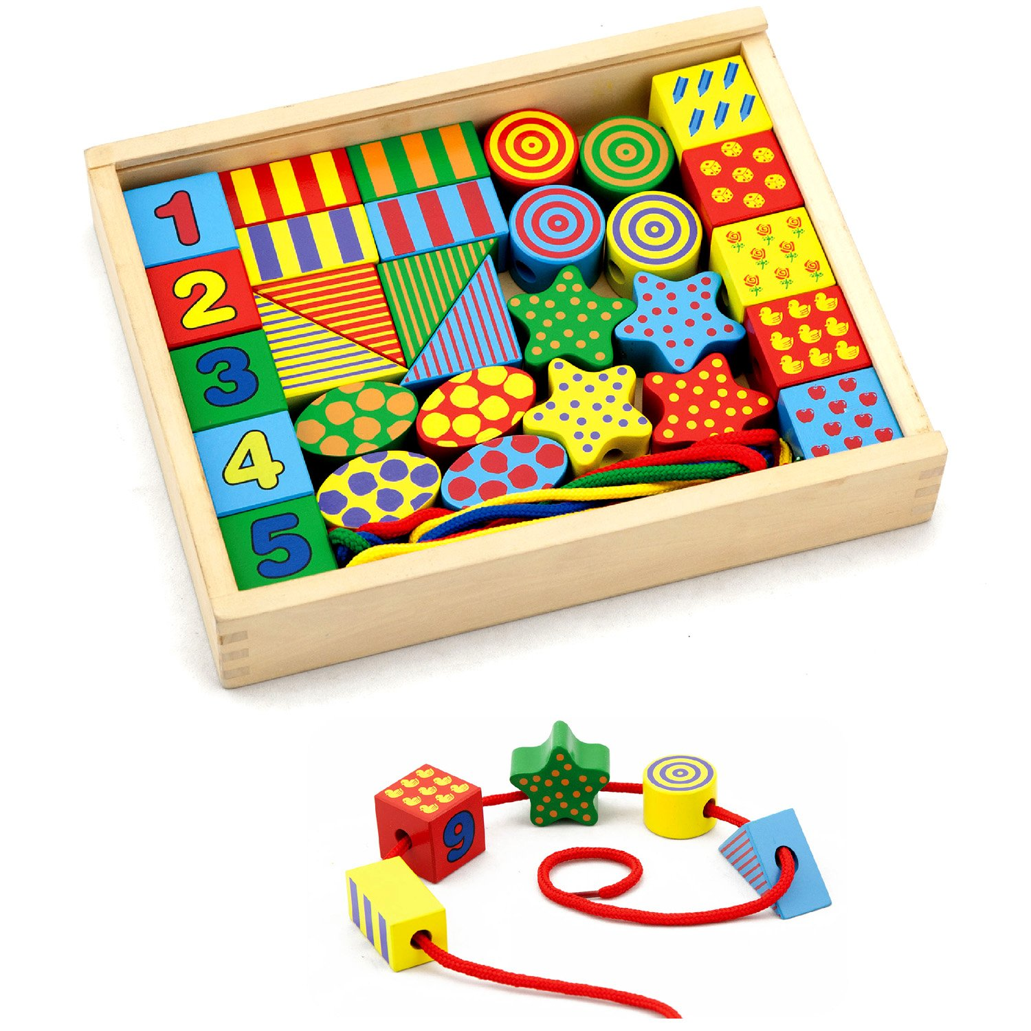 Wooden Lacing Blocks Set Amazon Toys & Games