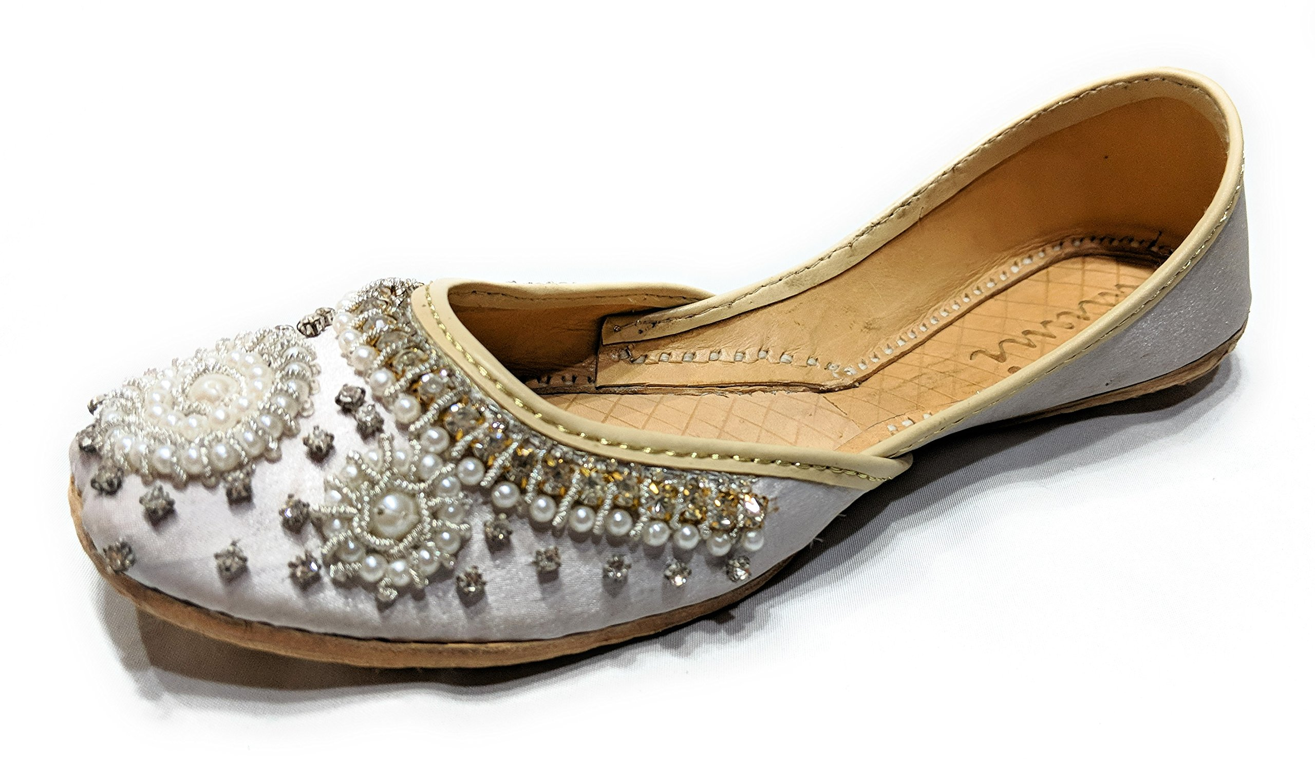 Mimi Women's Khussa Silver Special Occasion/Wedding Flat Handmade Pearl Shoes Silver 11
