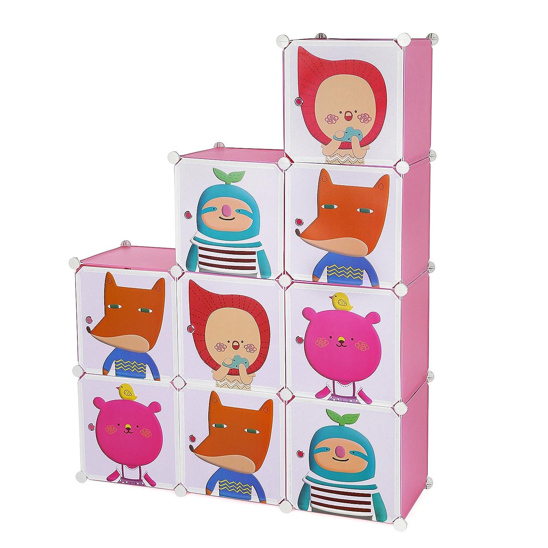 songmics estantera plegable infantil color rosa organizador de juguetes lpcp