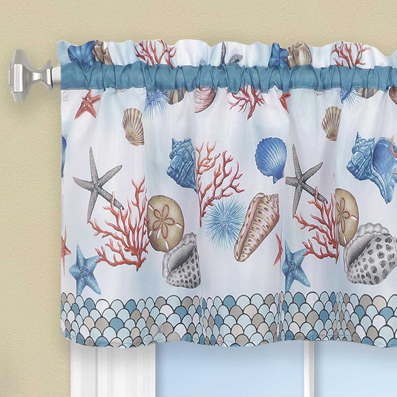 Blue 58 x 36 CSTV36BL12 58 x 36 Achim Home Furnishings Coastal Tier Valance Window Curtain Set