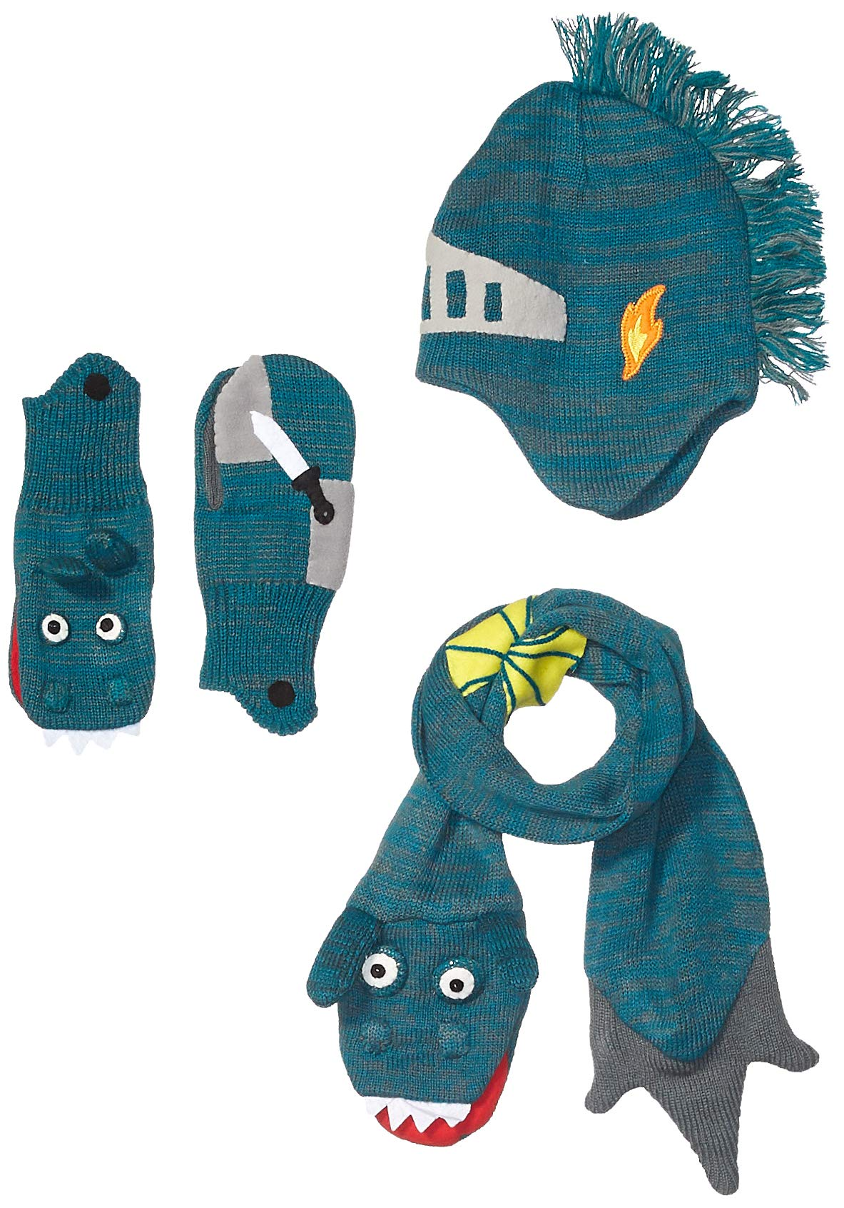 Kidorable Boys' Little Dragon Knight Hat Scarf Set, Green, Large