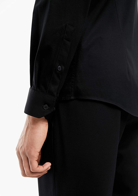 Fabric-Mix-Hemd in Unicolor s.Oliver BLACK LABEL Herren Slim