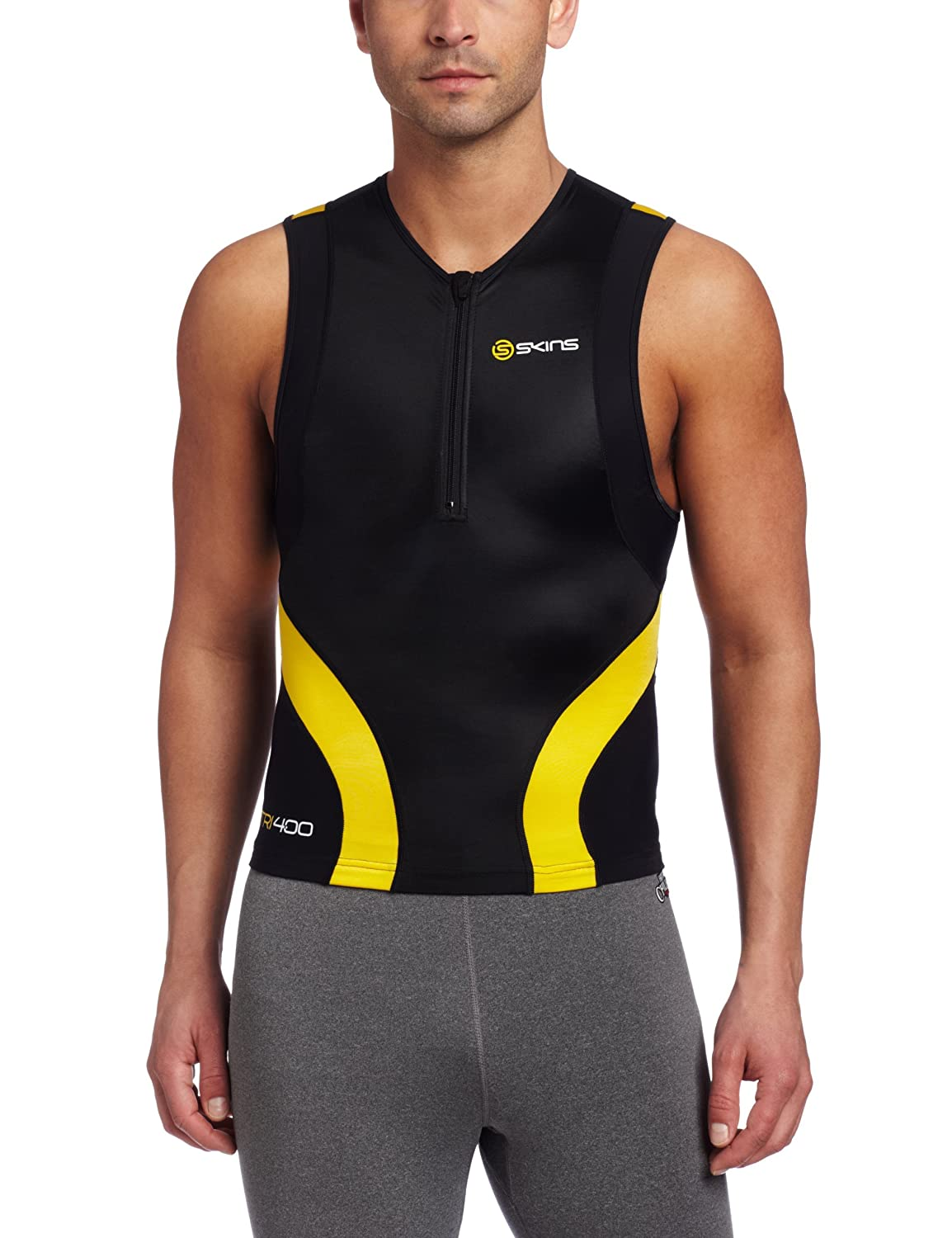 Skins Men's TRI400 Compression Sleeveless Front Zip Top