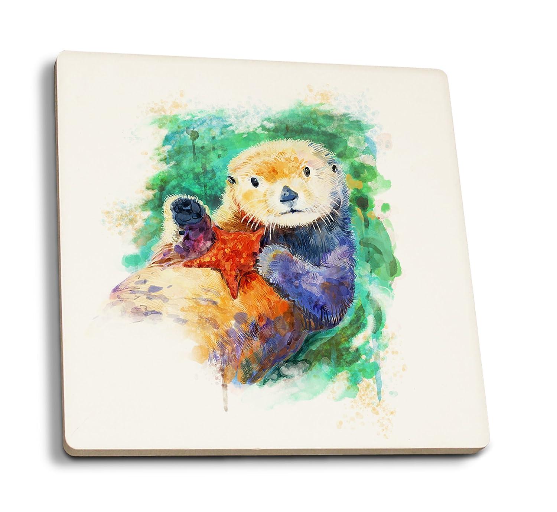 Sea Otter – 水彩 4 Coaster Set LANT-81876-CT 4 Coaster Set  B079YQB9KG