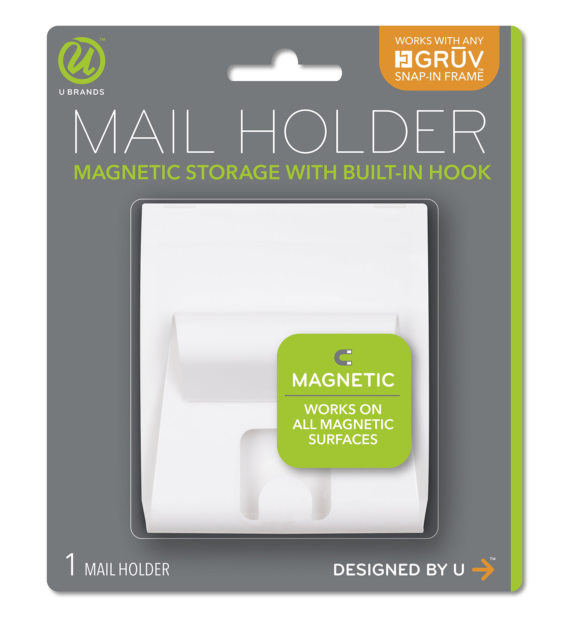 U Brands Gruv Magnetic Mail Holder with Key Hook, White, 3.5 x 3.25 Inches by U Brands (Image #1)