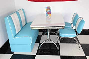 Miraculous American Diner Furniture 50S Style Retro High White Table 1 Booth And 2 Blue Chairs Home Interior And Landscaping Mentranervesignezvosmurscom